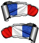 Small Pair Ripped Torn Metal Gash Design & France French Flag Vinyl Car Sticker 93x50mm each